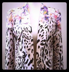 BEBE Shawl Collar Jacket in Leopard Floral